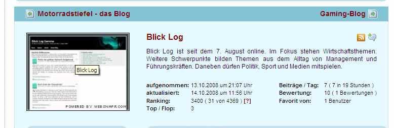 Bewertung von Bloggeramt am 14.10.08 um 16:30 Uhr