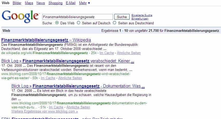 Ergebnis Google Suche am 20. Oktober 12 Uhr