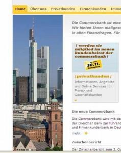 Ausriss aus Homepage der Commzerbank