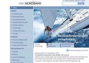 Ausriss aus der Homepage der HSH Nordbank