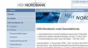 Ausriss aus der Website der HSH Nordbank