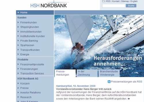 Heutiger Ausriss aus der Homepage der HSH Nordbank