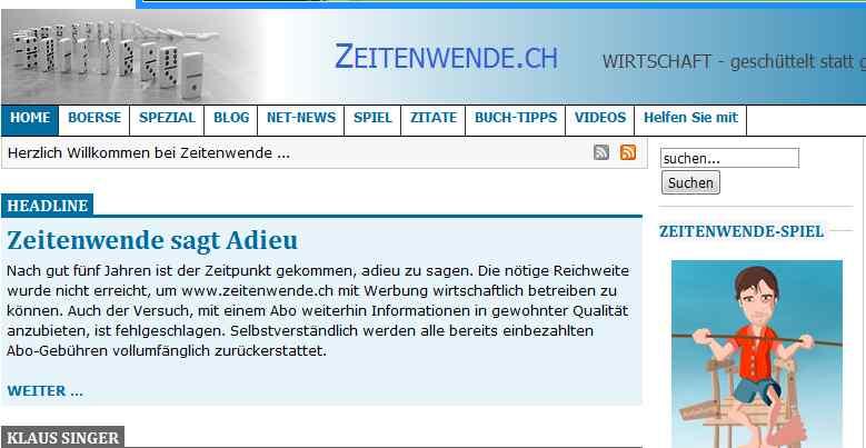 Bedauerliche Nachricht auf Zeitenwende.ch