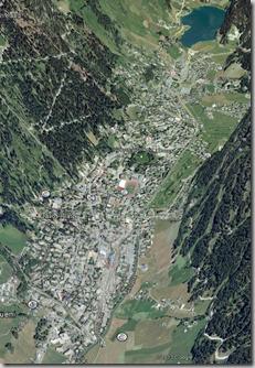 Ein Blick auf Davos via Google Earth